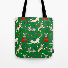 christmas sphynx (naked cat) ugly sweater Tote Bag