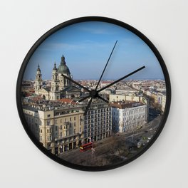 Panoramic view of Budapest and St. Stephen Basilica in Hungary Wall Clock