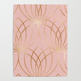 Rose gold millennial pink blooms Poster