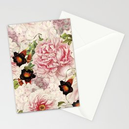 Vintage & Shabby Chic Pink Floral Peonies Flowers Watercolor Pattern Stationery Cards