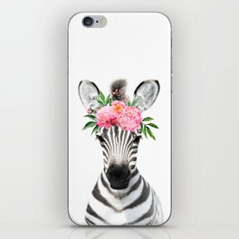 Baby Zebra with Flower Crown iPhone Skin