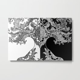 Unity of Halves - Life Tree - Rebirth - White Black Metal Print
