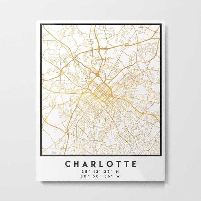 CHARLOTTE NORTH CAROLINA CITY STREET MAP ART Metal Print by ... on