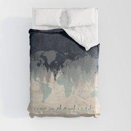 world map wanderlust forest 2 Comforters