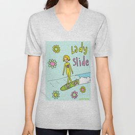 Surf Art Lady Slide Cross Step Flower Power Unisex V-Neck