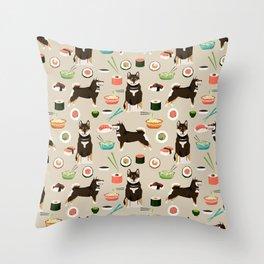 shiba inu sushi black and tan dog breed pet pattern dog mom Throw Pillow
