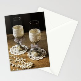 Rustic wedding flutes and pearls  Stationery Cards