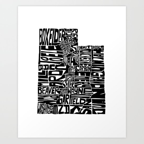 Typographic Utah Art Print