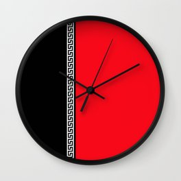 Greek Key 2 - Red and Black Wall Clock