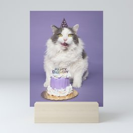 Happy Birthday Fat Cat In Party Hat With Cake Mini Art Print
