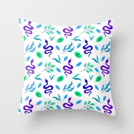 Wild exotic crawling snakes, little lush green and blue leaves white snake tropical nature pattern. Reptile lover. Gift ideas for animal lover & herpetologist. Hello spring. Throw Pillow