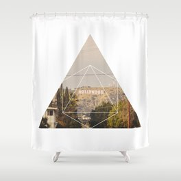 Hollywood Sign - Geometric Photography Shower Curtain