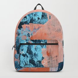 Delight [3]: a vibrant minimal abstract painting in blue and coral by Alyssa Hamilton Art Backpack