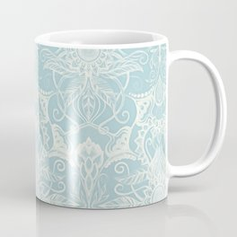 Floral Pattern in Duck Egg Blue & Cream Coffee Mug