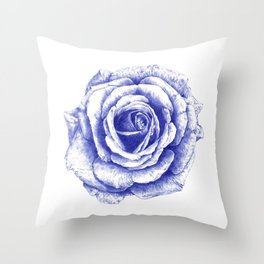 Ballpoint Blue Rose Throw Pillow
