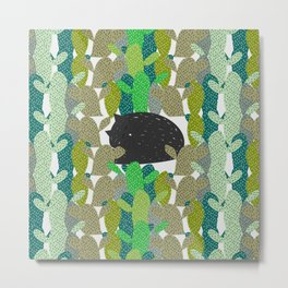 Sleepy cat in a cactus garden Metal Print