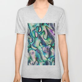 Purpley Green Mother of Pearl Abalone Shell Unisex V-Neck