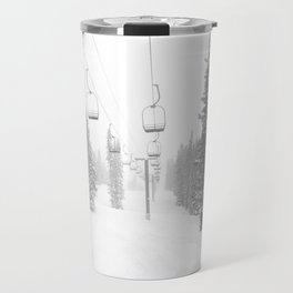 Empty Chairlift // Alone on the Mountain at Copper Whiteout Conditions Foggy Snowfall Travel Mug