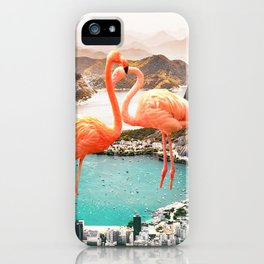 Collage, Flamingo, City, Creative, Nature, Modern, Trendy, Wall art iPhone Case