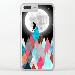 Wolf on Blue Peak Clear iPhone Case