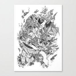 Birds and Berries Blk&Wht Canvas Print