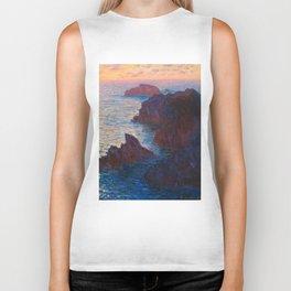 Claude Monet Impressionist Landscape Oil Painting Sunset At Sea Cliffs Ocean Cliff Landscape Biker Tank