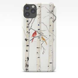 Birch Trees and Cardinal iPhone Case
