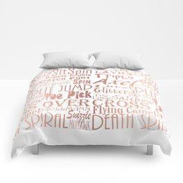 Figure Skating Subway Style Typographic Design Rose Gold Foil Comforters