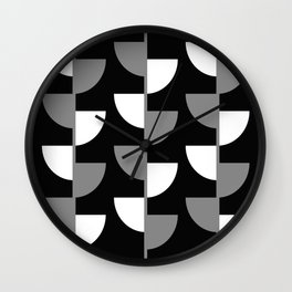 Climbing High - Grey and White on Black - Slices series Wall Clock