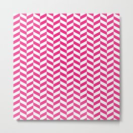 Rose Pink Herringbone Pattern Metal Print