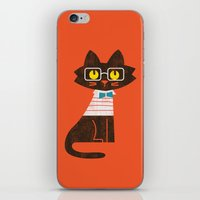 preppy iPhone & iPod Skins featuring Fitz - Preppy cat by Picomodi