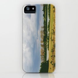 lake and gorse bushes at lynford water, norfolk, uk iPhone Case