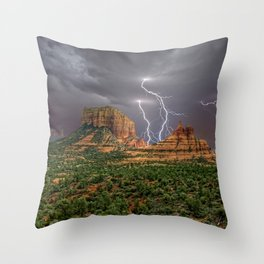 Double Lightning between Courthouse Butte and Bell Rock in Sedona AZ Throw Pillow