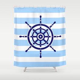 AFE Nautical Helm Wheel Shower Curtain