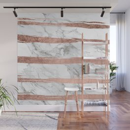 Modern chic faux rose gold brush stripes white marble Wall Mural