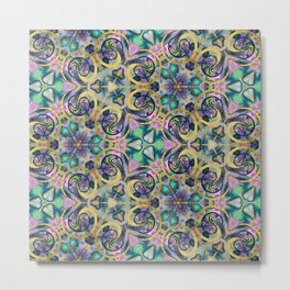 Abstract Gemstone and Gold Kaleidoscope Metal Print