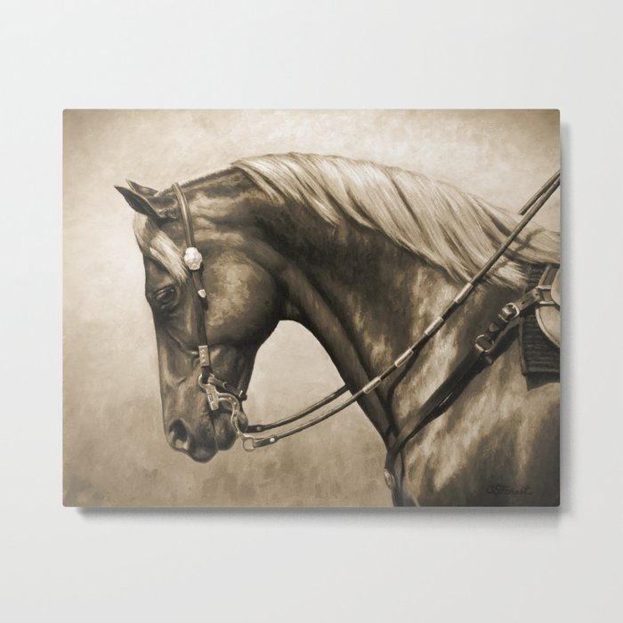 Western Quarter Horse Old Photo Effect Metal Print