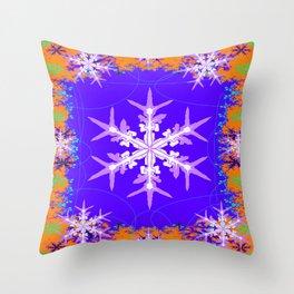 Purple Snowflake Modern Art Abstract Throw Pillow