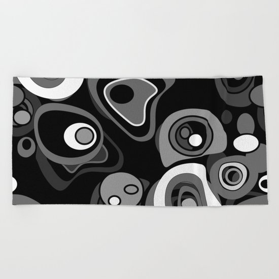 Abstract black and white polka dot pattern . Beach Towel