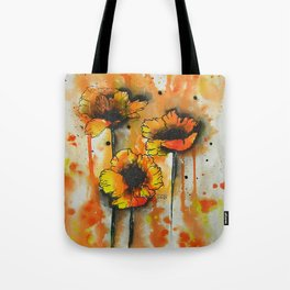 Three Poppies in Line + Wash / Watercolor Painting Tote Bag