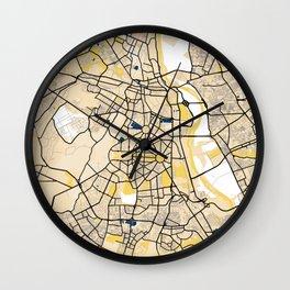 New Delhi Yellow City Map Wall Clock