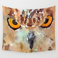 owl Wall Tapestries featuring Owl by contemporary