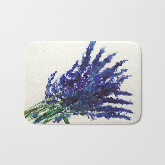Fresh Cut Lavender Watercolors On Paper Bath Mat