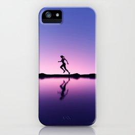 female runner in seashore landscape iPhone Case