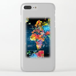 World Map Black - 2 Clear iPhone Case