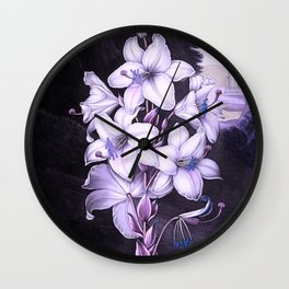 The White Lily w/ Variegated-leaves Lavender Temple of Flora Wall Clock