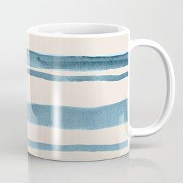 Watercolor Stripes in Blue on Tan Coffee Mug