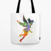 tinker bell Tote Bags featuring Tinker bell in watercolor by Paulrommer