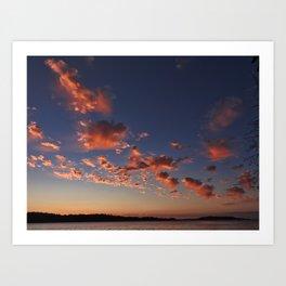 Puffy, pink Puget Sound sunset Art Print