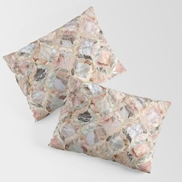 Rosy Marble Moroccan Tile Pattern Pillow Sham